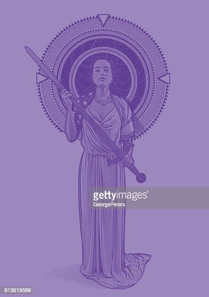 ultra violet engraving of a mixed race lady justice holding sword framed by stars and space - mythological character stock illustrations, clip art, cartoons, & icons