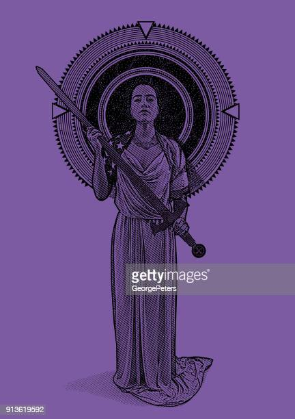 Ultra violet engraving of a Mixed race Lady Justice holding sword framed by stars and space