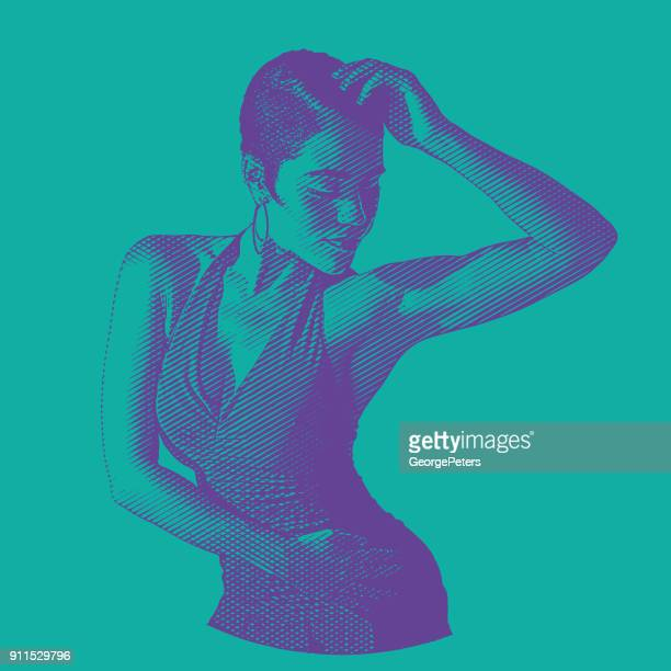 ultra violet engraving of a mixed race woman salsa dancing - salsa music stock illustrations, clip art, cartoons, & icons