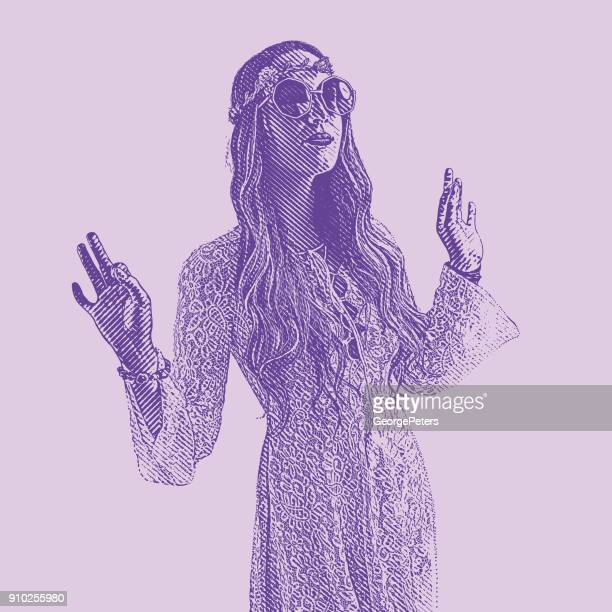 Ultra Violet engraving of a young Hippie woman wearing 1960's vintage fashion