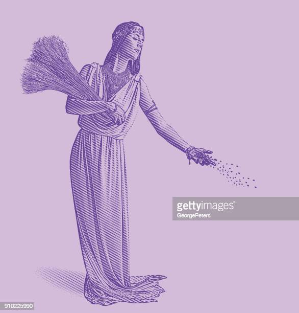 Ultra Violet engraving of Demeter, goddess of the harvest and fertility, sowing seeds.