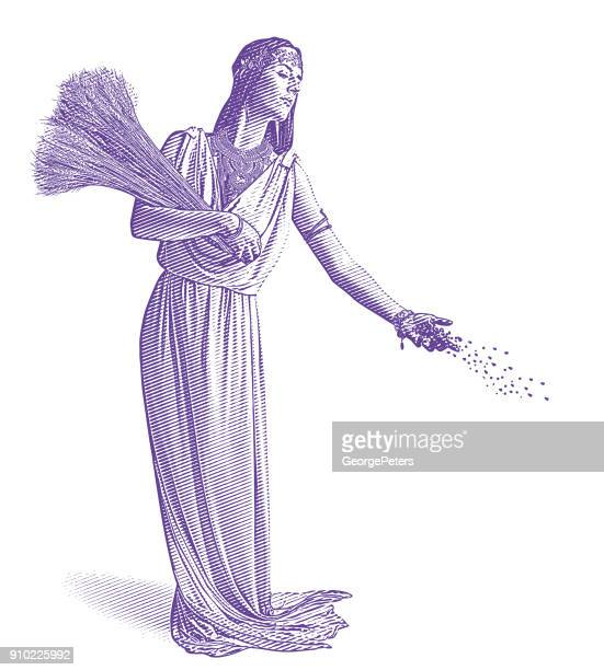 デメテル、収穫と豊穣の女神種まきのウルトラ バイオレット彫刻。 - 繁殖力点のイラスト素材/クリップアート素材/マンガ素材/アイコン素材