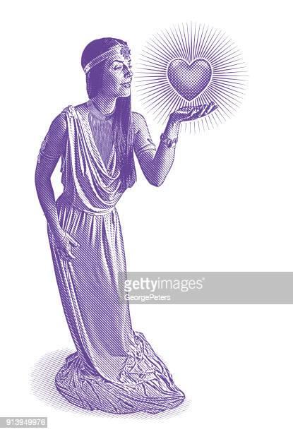 ilustraciones, imágenes clip art, dibujos animados e iconos de stock de ultra violeta grabado de la diosa del amor y romance con corazón brillante - roman goddess