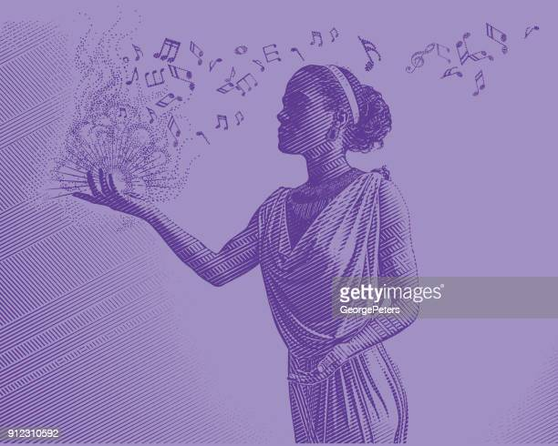ultra violet engraving of mixed race female musician composing music - cuban ethnicity stock illustrations, clip art, cartoons, & icons
