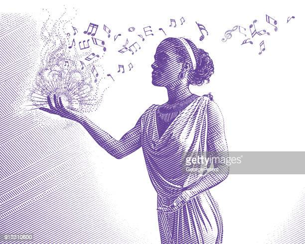 ultra violet engraving of mixed race female musician composing music - songwriter stock illustrations