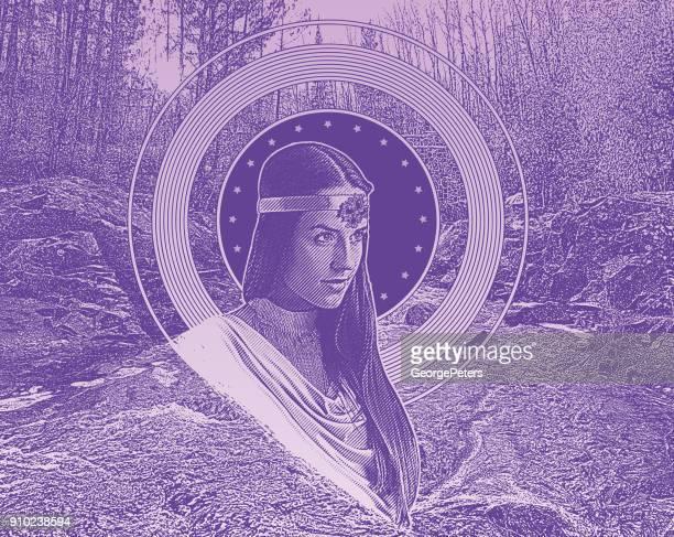 ilustraciones, imágenes clip art, dibujos animados e iconos de stock de ultra violeta grabado de la madre naturaleza con arroyo y bosque - roman goddess