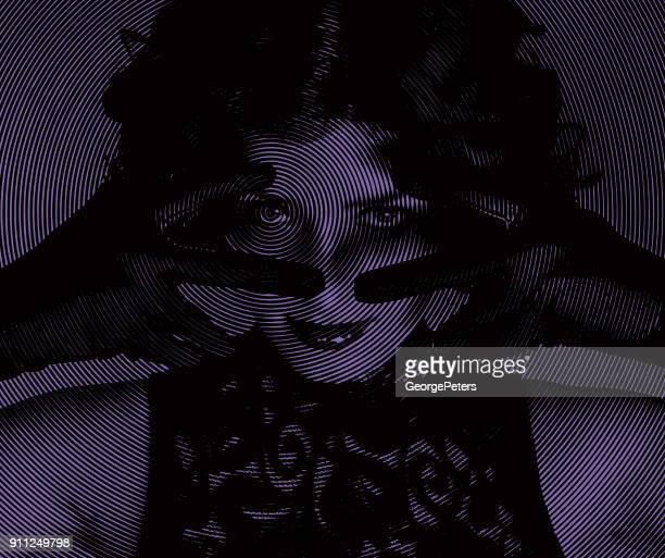 ultra violet engraving portrait of a mysterious young woman making a flirting gesture - lip gloss stock illustrations, clip art, cartoons, & icons