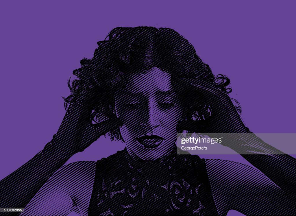 Ultra violet engraving portrait of an fashionable young woman suffering a stress headache