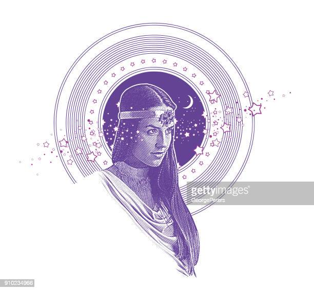 ultra violet engraving vector of native american goddess framed with stars, space and moon - mythological character stock illustrations, clip art, cartoons, & icons