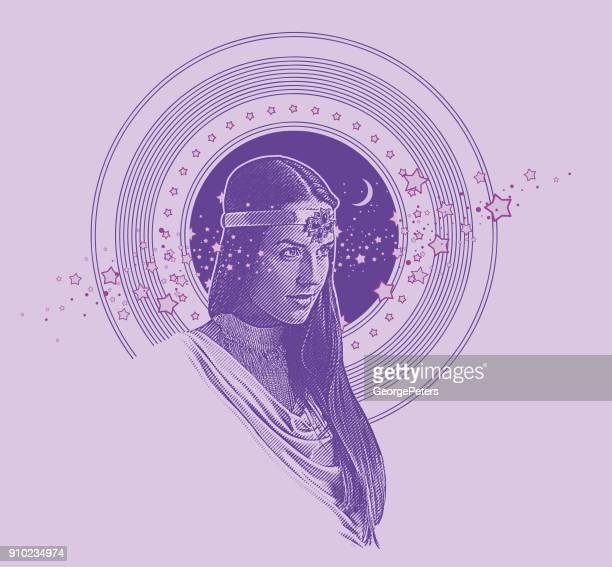 Vector de grabado violeta ultra de diosa indígena enmarcado con estrellas, el espacio y la luna