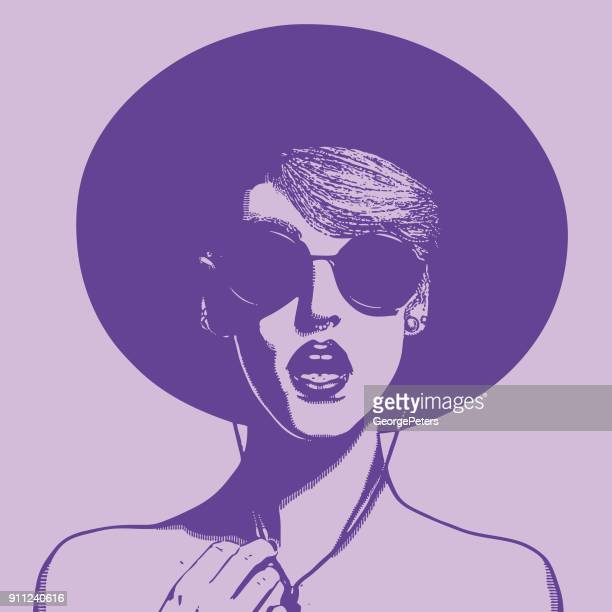 Ultra violet illustration of a fashionable young woman with a surprised expression