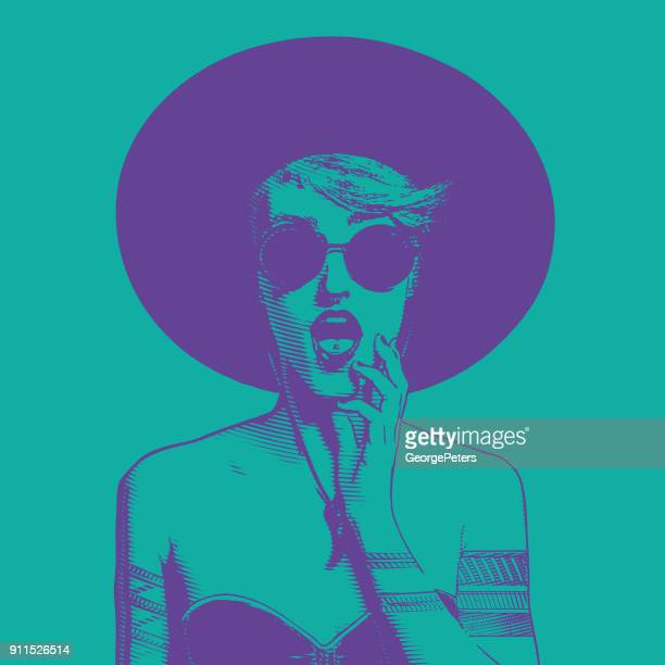 Ultra violet line art illustration of a fashionable young woman with a surprised expression