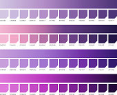 Ultra violet pantone color vector swatches. Colors of 2018