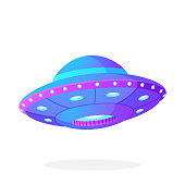 Ultra violet UFO space ship in flat style