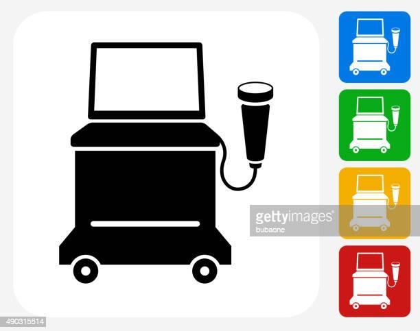 超音波機器のグラフィックデザインアイコンフラット - 超音波検査点のイラスト素材/クリップアート素材/マンガ素材/アイコン素材