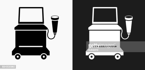 ultrasound machine icon on black and white vector backgrounds - ultrasound scan stock illustrations