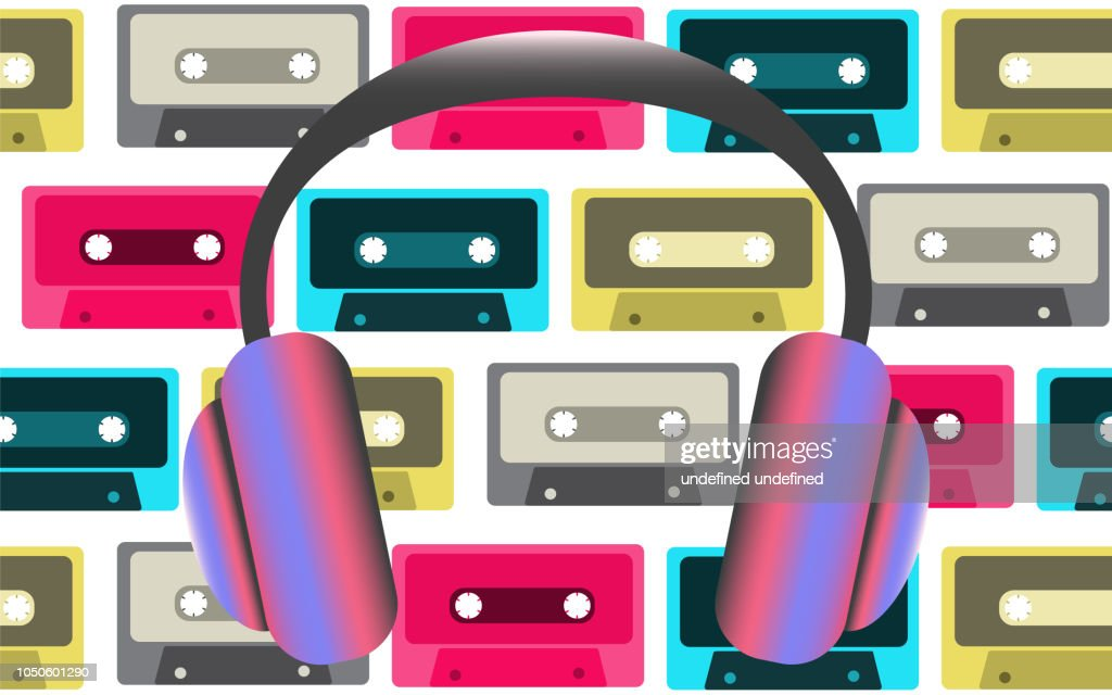 Ultra-violet big fashionable full-sized headphones for listening to music on the background of old retro vintage hipster audio cassettes from the 80's, 90's. Vector