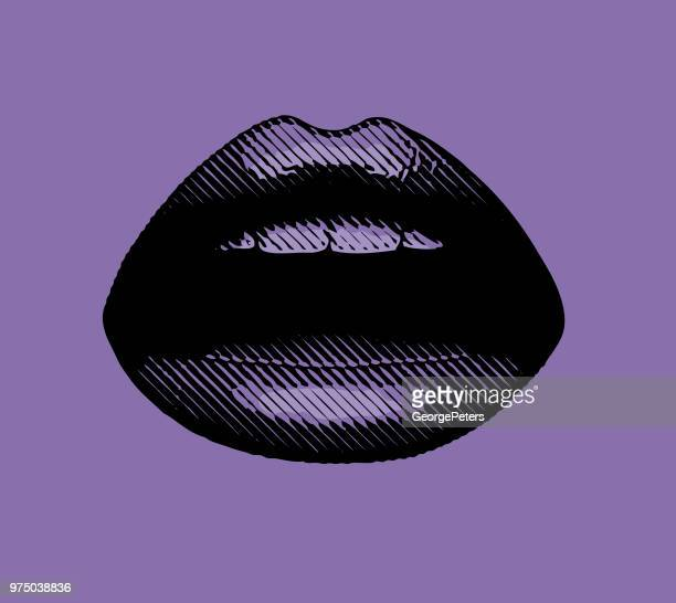 ultraviolet close up engraving of women's lips - seduction stock illustrations, clip art, cartoons, & icons