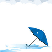 umbrella after rain flat vector
