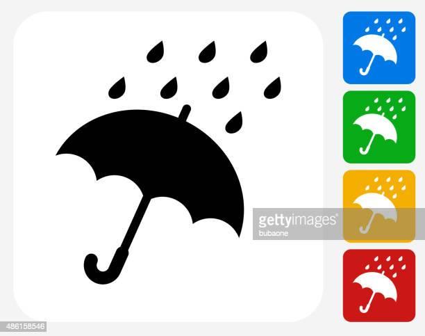 Tipo lluvia y paraguas de iconos planos de diseño gráfico