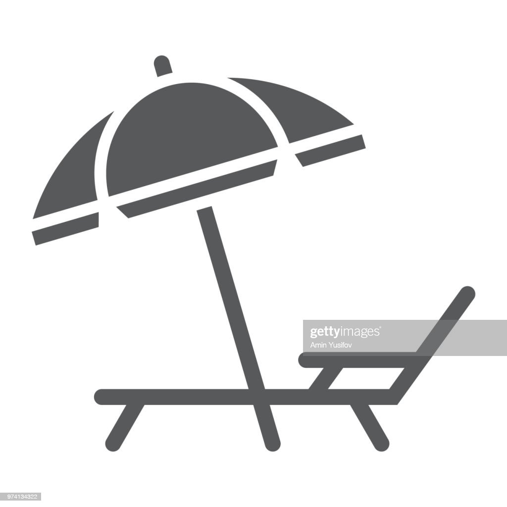 Umbrella and sun lounge glyph icon, travel and tourism, deck with sun umbrella sign vector graphics, a solid pattern on a white background, eps 10.