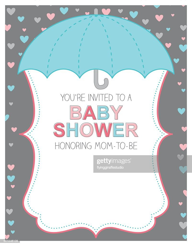 Umbrella Baby Shower Invitation : Vector Art