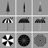 Umbrella black vector icons