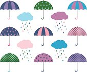 Umbrella collection in different colors with cute clouds with colorful raindrops.