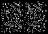 Umbrella doodle pattern background