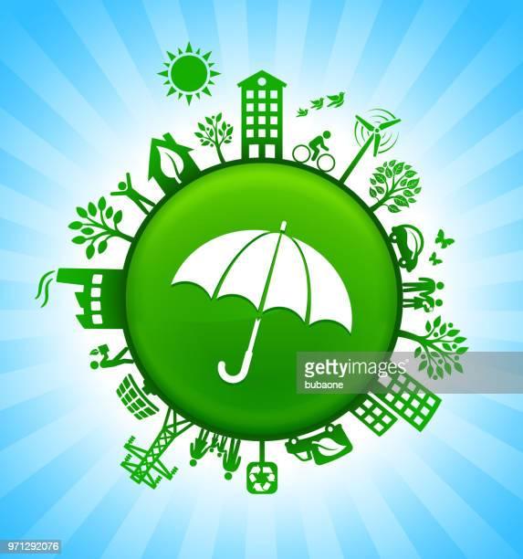 Umbrella Environment Green Button Background on Blue Sky