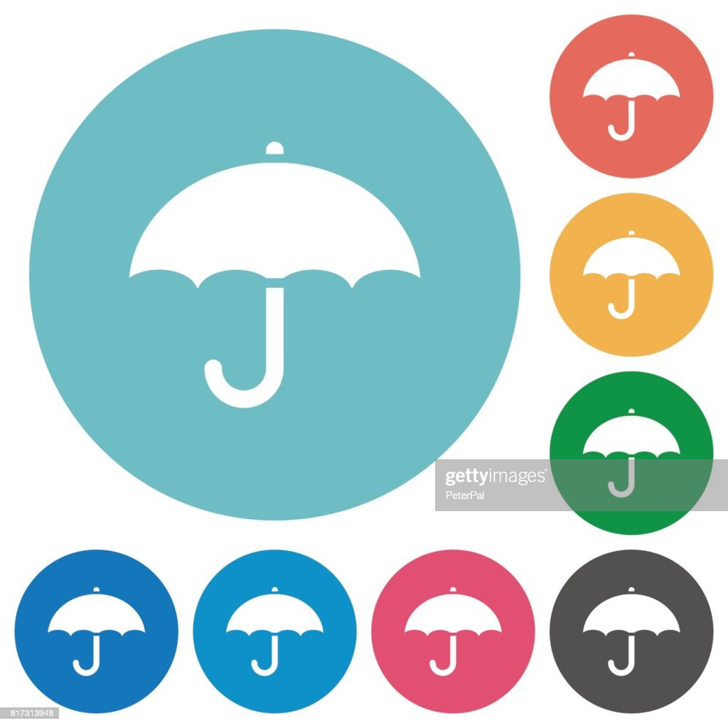 Umbrella flat round icons