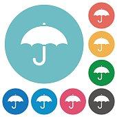 Umbrella flat round icons
