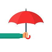 Umbrella holding in hand