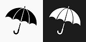 Umbrella Icon on Black and White Vector Backgrounds
