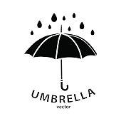 Umbrella icon, vector logo. Black umbrella silhouette, raindrops and text isolated