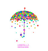 Umbrella idea on the white background, umbrella created from the small colored parts, emotions icons multicolored isolated, vector