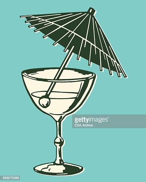 umbrella in drink - vodka drink stock illustrations, clip art, cartoons, & icons