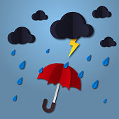 Umbrella in the air with cloud and rain. Paper art style. Projects template for business. Vector art and illustration.