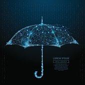 umbrella low poly blue