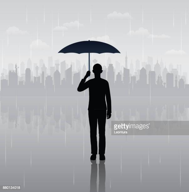 umbrella man (all buildings are complete and moveable) - bad luck stock illustrations, clip art, cartoons, & icons