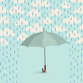 Umbrella over rain cloudy sky background. Clouds water drop pattern