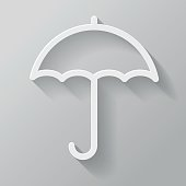 Umbrella Paper Thin Line Interface Icon With Long Shadow