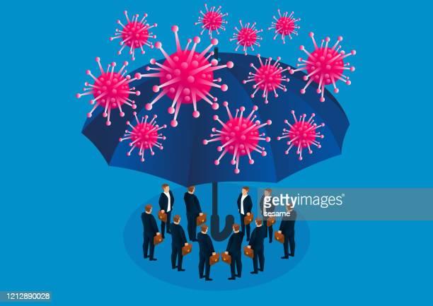 傘は、新しいコロナウイルス肺炎で感染から人々を保護します - パンデミック点のイラスト素材/クリップアート素材/マンガ素材/アイコン素材