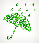 Umbrella & Rain Nature and Environmental Conservation Icon Pattern