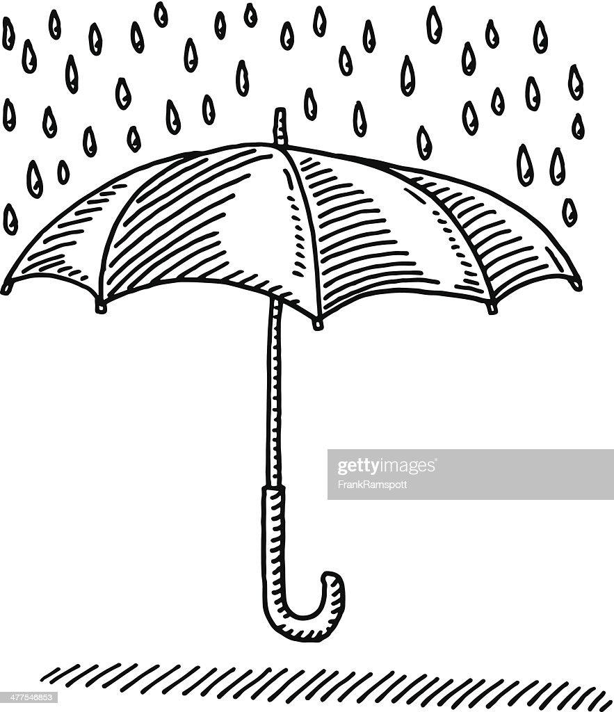 Umbrella Rain Protection Symbol Drawing : stock illustration