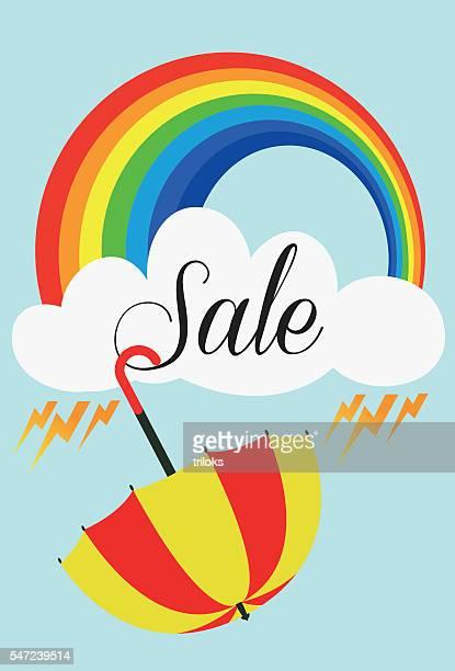 umbrella rain sale - monsoon stock illustrations, clip art, cartoons, & icons