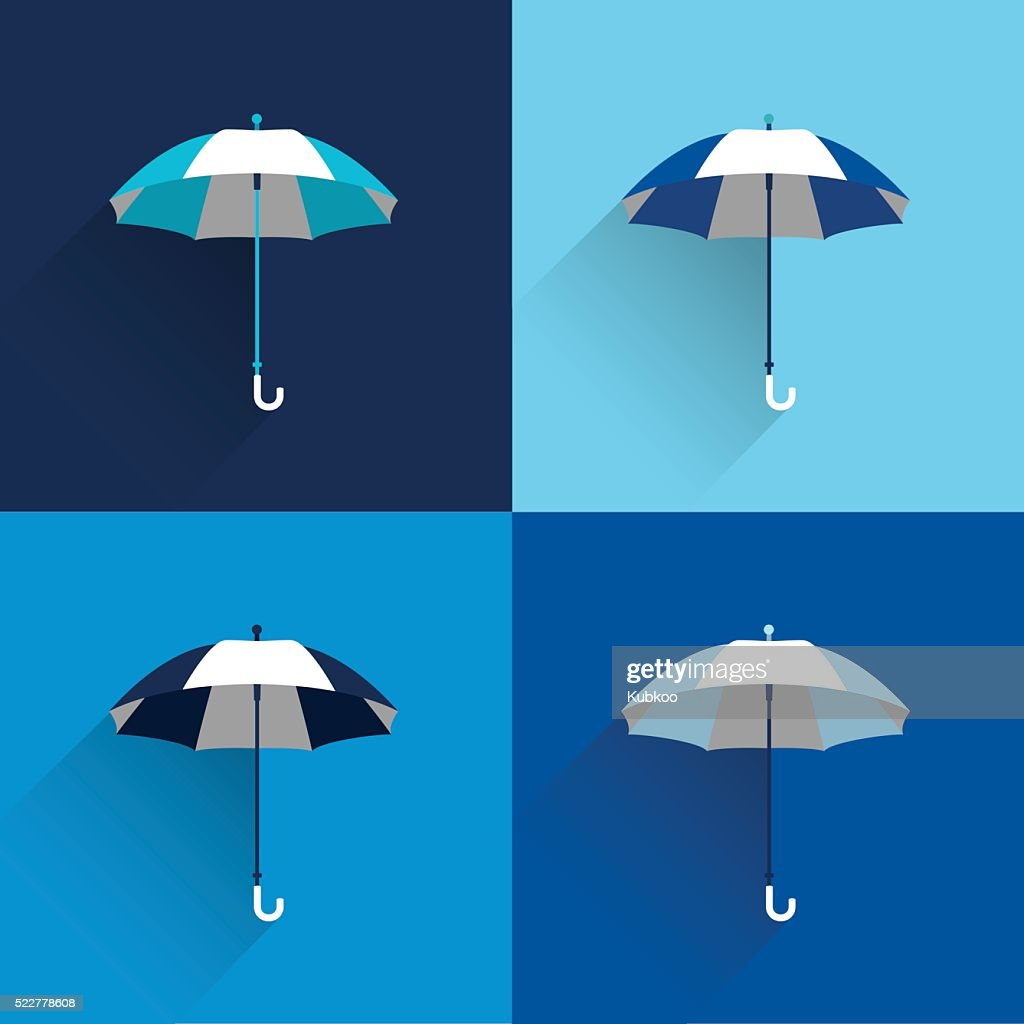 Umbrella sign. Flat vector sign. Various blue color parasol.