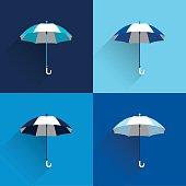 Umbrella sign. Flat vector sign. Various blue color parasol.