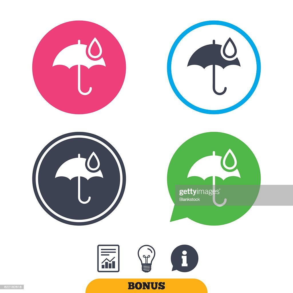 Umbrella Sign Icon Water Drop Symbol Vector Art Getty Images