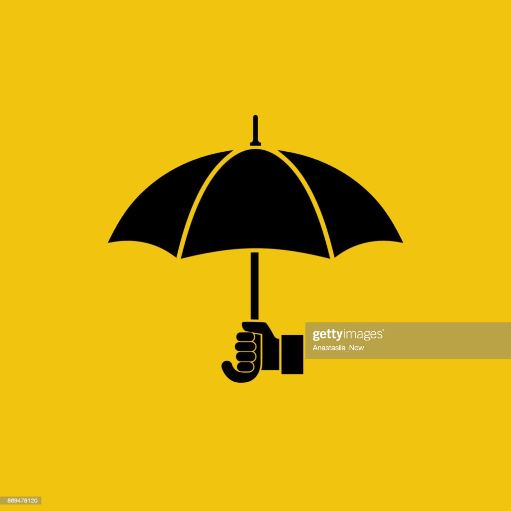 Umbrella silhouette holding in hand human.